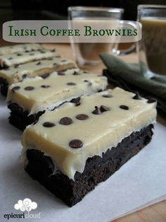 Irish Coffee Brownies - dessert and alcohol all in one! Via @epicuricloud, Christina Verrelli