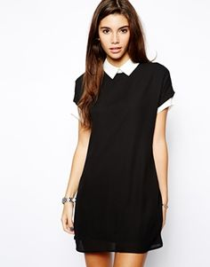Daisy Street Shirt Dress with Contrast Collar and Cuffs