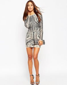 ASOS | ASOS Armour Mesh Mini Bodycon Dress at ASOS