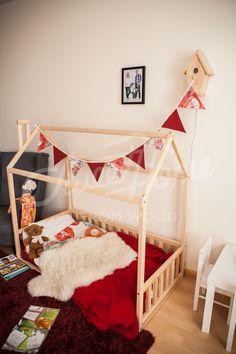 Scandinavian design Baby room interior baby bed or children bed Kids Bed Frames, Wooden Bed Frames, House Frame Bed, House Beds, Toddler House Bed, Toddler Girl, Cool Beds For Kids, Teepee Bed, Childrens Beds