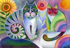 Il mondo di Mary Antony: I coloratissimi gatti e pesci di Karin Zeller