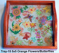 wood tray with a flower theme sealed in resin. Great for kids! Wood Tray, Orange Flowers, Trays, Handcrafted Jewelry, Magnets, Polymer Clay, Resin, Butterfly, Kids