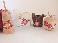 Apple Kitchen Decor Wooden Miniature Butter Churn Bucket, Apple Wall Hanging Basket Country Cottage 4 Piece Set Folk Art