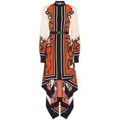 Issa Deena Printed Dress ($684) ❤ liked on Polyvore featuring dresses, baroque print dress, genuine leather dress, kaftan dress, mixed print dress and issa dresses
