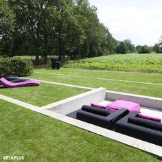Tiered grass, sunken seated area