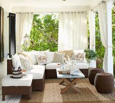 Shop Pottery Barn for expertly crafted outdoor furniture sets. Find patio furniture sets including outdoor chairs, dining tables and more, perfect for any style. Outdoor Rooms, Outdoor Furniture Sets, Outdoor Decor, Rustic Furniture, Antique Furniture, Indoor Outdoor, Outdoor Curtains For Patio, Furniture Design, Porch With Curtains