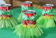 Luau party...soda can decorations!  adorable!