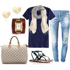 OOTD 2.13.15 by crystaljoyce on Polyvore featuring J.Crew, Dsquared2, Tory Burch and Louis Vuitton