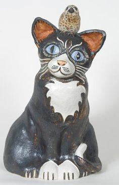 Cat Black and White - Ceramic sculpture by Tracy Wright
