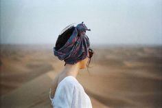 head scarf + white tee