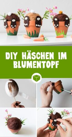 DIY Hase im Blumentopf: So einfach bastelst Du süße Häschen, die aus dem Töp… DIY bunny in a flowerpot: It's so easy to make cute bunnies that look out of the potty. With a little felt, terracotta pots and styrofoam, this craft is very easy for Easter. Diy And Crafts, Crafts For Kids, Children Crafts, Boyfriend Crafts, Valentine's Day Diy, Terracotta Pots, Cute Bunny, Valentines Diy, Easter Crafts