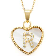 La Preciosa Sterling Silver Goldplated Mother of Pearl Cubic Zirconia Initial Heart Necklace (R), Women's, Size: 18 Inch, White Jewelry Rings, Silver Jewelry, Jewelry Watches, Black And White Tree, Valentines Flowers, Gold Necklace, Pendant Necklace, Girls Jewelry, Initials