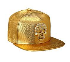 Gold metal rivet button skull studded snapback Denim Cap 04bcc5566a82