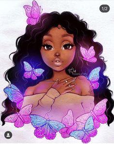 Black Girl Cartoon, Dope Cartoon Art, Cartoon Art Styles, Black Art Painting, Black Artwork, Black Love Art, Black Girl Art, Christina Lorre Drawings, Drawings Of Black Girls