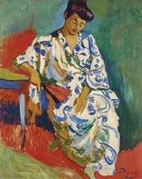 Andre Derain (1880-1954) Madame Matisse au kimono signed 'a derain' (lower right) oil on canvas 31¾ x 25 5/8 in. (80.5 x 65 cm.) Painted in Collioure, summer 1905