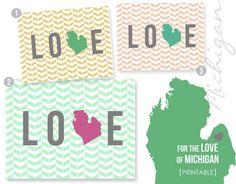 Michigan LOVE Free Printable #michigan #love #statepride www.michigancreative.com