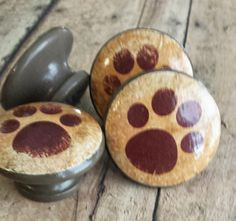 Handmade Paw Print Knobs Drawer Pulls, Puppy Paws, Cabinet Pull ...