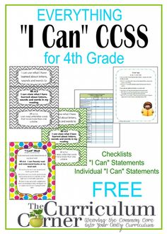 """Everything """"I Can"""" Common Core for Fourth Grade FREE from The Curriculum Corner"""