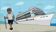 A Black Man Nordic Walking At A Luxury Cruise Ship Liner :  A bald man wearing a white shirt black pants shoes and white socks smirks with his hands holding two gray walking poles while walking Nordic style. Set in a white luxury cruise ship docked at the sea port on a sunny day.