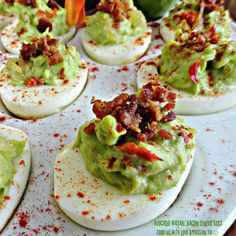 Let's get this party started with my Avocado Wasabi Bacon Sinful Eggs Wasabi Recipes, Avocado Recipes, Egg Recipes, Cooking Recipes, Relish Recipes, Bacon Deviled Eggs, Deviled Eggs Recipe, Scrambled Eggs, Meat Appetizers