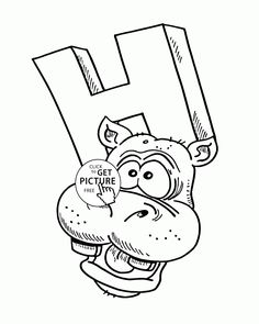 Letter H - Alphabet coloring pages for kids, ABC printables free - Wuppsy.com