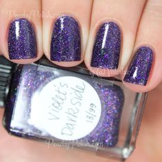 "Lynnderella Violet's Dark Side | Peachy Polish ""Violet's Dark Side"" has dark cool-toned purple microglitter with sparse black glitter in a clear base.  This is awesome.  Lynnderella is definitely making me a big time microglitter fan.  This is 2 coats."