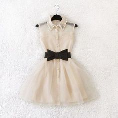 white collar dress with black bow