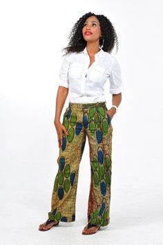 Would love to find a pattern for this style of pant - African Print Pants by Bongolicious1 on Etsy, $55.00