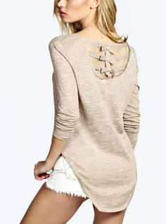 Fvogue Fashion Lace Long Sleeve T-shirt----$13.99