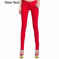 Fashion Pencil Jeans Woman Candy Colored Mid Waist Full Length  Skinny Pants