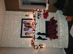 Decorating the mantle for Christmas