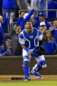 Kansas City Royals catcher Salvador Perez was fired up after the final out that gave the Royals their second consecutive ALCS title after defeating Toronto 4-3 on October 23, 2015 at Kauffman Stadium in Kansas City, Mo.