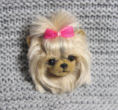 Brooch made of wool dog Yorkshire terrier READY TO SHIP