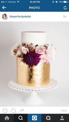 Gold leaf cake - maybe with brighter coloured flowers? More