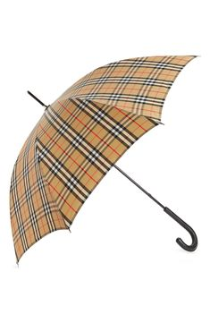 A head-turning check pattern defines a classic umbrella that offers equal parts form and function. Style Name:Burberry Walking Check Umbrella. Style Number: Available in stores. Black Umbrella, Handbag Accessories, Turning, Burberry, Nordstrom, Walking, Number, Beige, Handbags