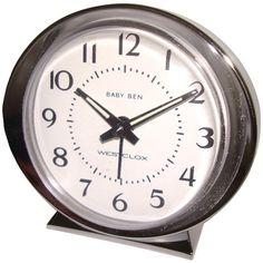 Westclox 11611 Baby Ben Classic Key Wound Silvertone Alarm Clock Key-Wound alarm clock No batteries or electricity needed Nickel-Finish metal bezel, base & knobs Analog Alarm Clock, Travel Alarm Clock, Alarm Clocks, Clock Display, Clock Decor, Radios, Classic Clocks, Tabletop Clocks, Creative