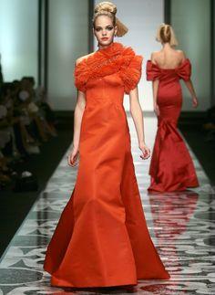 Awesome orange haute-couture dress!