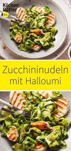 Halloumi mit zucchini noodles only have around 17 calories! You can feast on Halloumi cheese without a guilty conscience and enjoy it. With a delicious pesto, it still tastes best! HERE FOR HALLOUMI HAPPINESS: www. Zucchini Pesto, Zucchini Noodle Recipes, Veggie Recipes, Pasta Recipes, Cooking Recipes, Healthy Recipes, Zucchini Noodles, Necterine Recipes, Chard Recipes