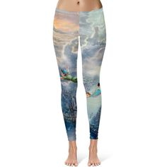 Peter Pan Disney Fine Art Painting Tinker Bell Leggings in Xs-3xl... ($28) ❤ liked on Polyvore featuring activewear, activewear pants, leggings, disney, silver, women's clothing and sports activewear