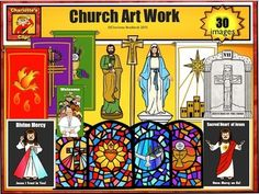 Church Art work and enviroment clip art set for a Catholic Mass has 30 images in color and line art available for commericial use.processional cross statute of St. Joseph, the workerstatute of Mary, Mother of Godstained glass window - Sacred Heartstained glass window - dovestained glass window - cross of mercystained glass window - communionDivine Mercy pictureSacred Heart of Jesus pictureBanner Eucharistic - greenBanner Pentecost - redBanner Christmas - whiteBanner Lent - purpleBanner Pope…