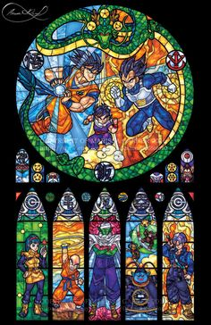 Full Size - Dragon Ball Z Stained Glass Illustration