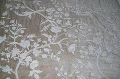 MDS Crewel Fabric Parijata White on Grey Cotton Viscose Velvet