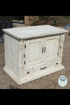 Old tv turned cabinet! CeCe Caldwell's Vintage White with a dark wax!