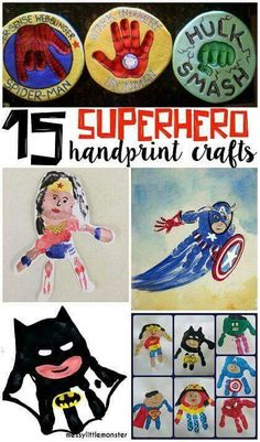 Amazing Superhero Handprint Crafts for Kids Crafty Morning - Womens Batman - Ideas of Womens Batman - Amazing Superhero Handprint Crafts for Kids (Find batman superman hulk captain america wonder woman and more! Craft Activities For Kids, Preschool Crafts, Projects For Kids, Science Projects, Diy Projects, Preschool Ideas, Craft Ideas, Crafts To Do, Crafts For Kids