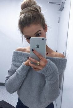 Fab and cozy look by Audrey Anne who is wearing her cute grey off-shoulder mohair crop sweater. #LBSDaily