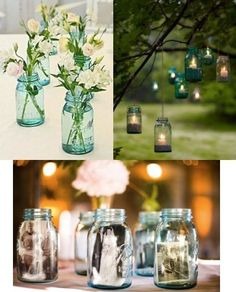 blue mason jars for wedding decorations | Blue Ball Mason Canning Jars for wedding decor ideas ... | wedding id ...