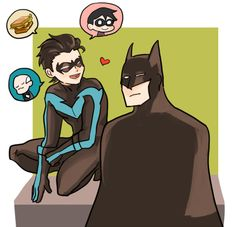 Nightwing and Batman. Dick Grayson and Bruce Wayne.