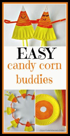 Make paper plate candy corn buddies! Such a cute halloween/fall craft for kids to make.