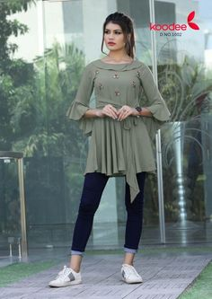 Rs Collection from Jabalpur - Buy Sarees, Unstitched Dress Material, Kurtas Online on MyShopPrime New Kurti Designs, Kurti Designs Party Wear, Blouse Designs, Stylish Tops For Women, Stylish Dresses For Girls, Stylish Kurtis Design, Fancy Kurti, Fancy Tops, Mode Outfits