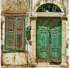 Green Jade Vintage Door With Window - Wall X Scape Vintage Doors, Antique Doors, Rustic Doors, Wooden Doors, Windows And Doors, The Doors, Cool Doors, Door Gate, Painted Doors